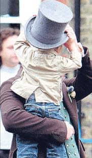 Matthew with Ralph on set of Little Dorrit